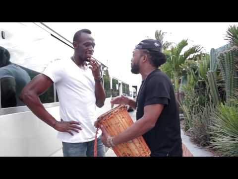 Usain Bolt meets Machel Mantano for the filming of Digicel Bring The Beat TVC