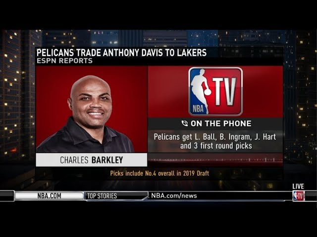 Charles Barkley on Pelicans trade Anthony Davis to Lakers for L. Ball, B. Ingram, J. Hart