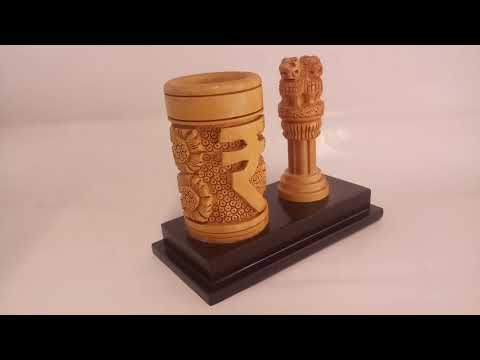 Wooden Pen holder with Ashoka pillar (National Emblem Gifts) | pen holder by Handicraftsinindia.in