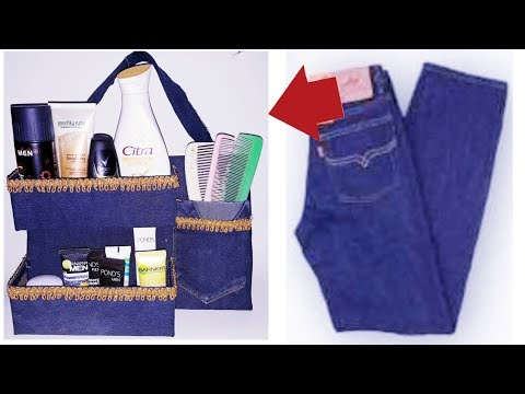 DIY || Ide Kreatif Penyimpanan Alat Make up Dari Celana Jeans || Makeup Organizer From used jeans
