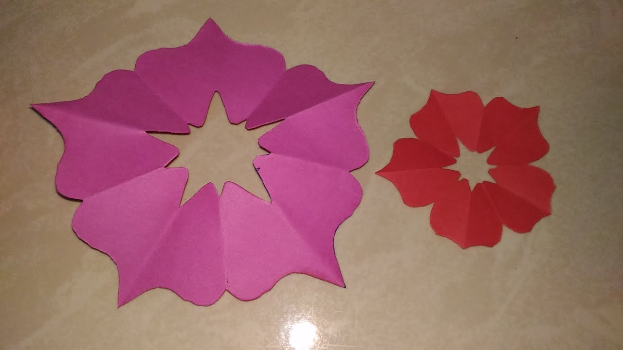 How To Make 5 Petal Paper Flower In 2 Min Hand Cut For Ganpati
