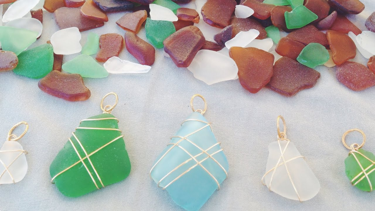 Diy seaglass necklaces youtube mozeypictures Images