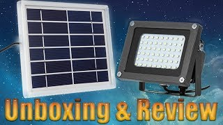 L-400C Solar Floodlight Lighting time 9 hours Waterproof : Unboxing & Review