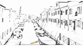 Auto Draw 2: Canal, Burano, Venice, Italy