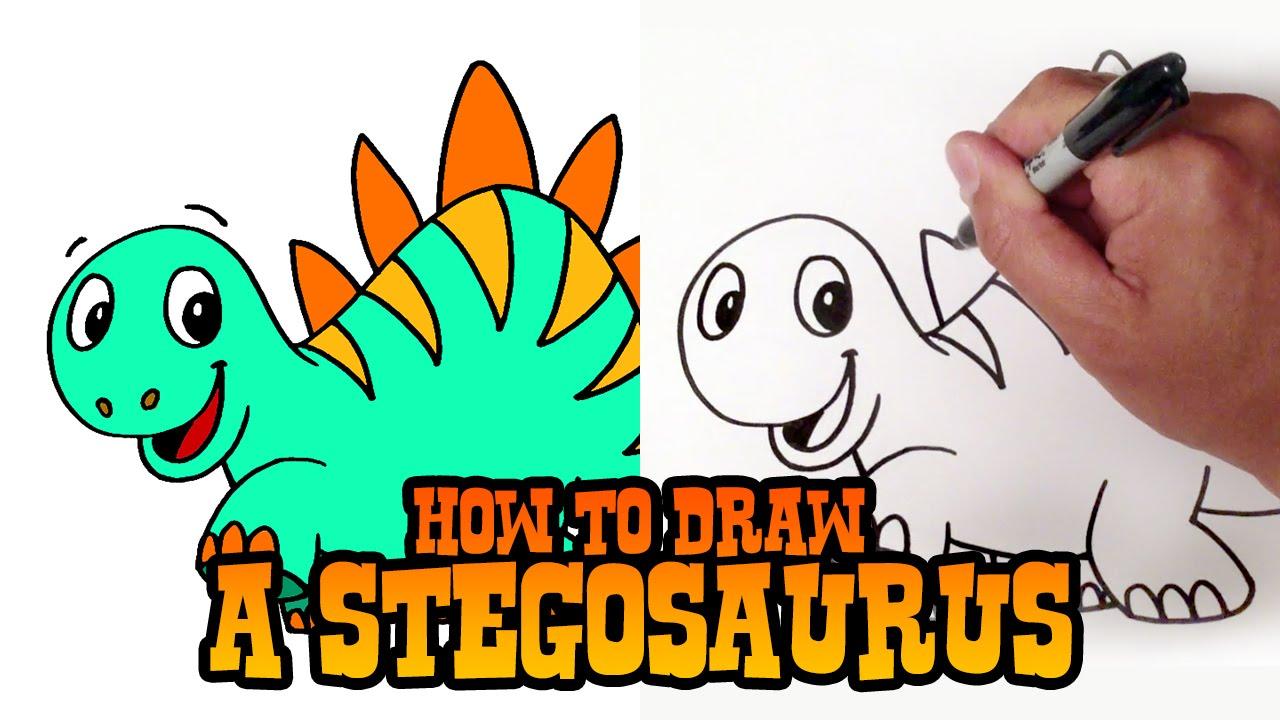 How to Draw a Stegosaurus Dinosaur - Step by Step Video ...