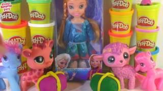 Play doh kinder surprise eggs Peppa pig toys frozen elsa