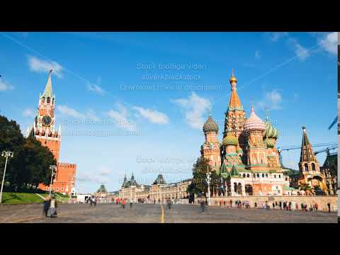 Dolly zoom hyperlapse and timelapse of Moscow city with Red Square, Kremlin and Saint Basils's