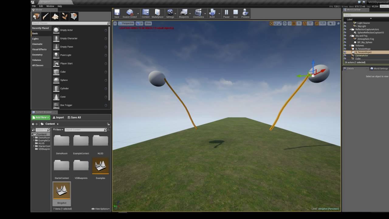 VICODynamics plugin for UE4: Slingshot Example