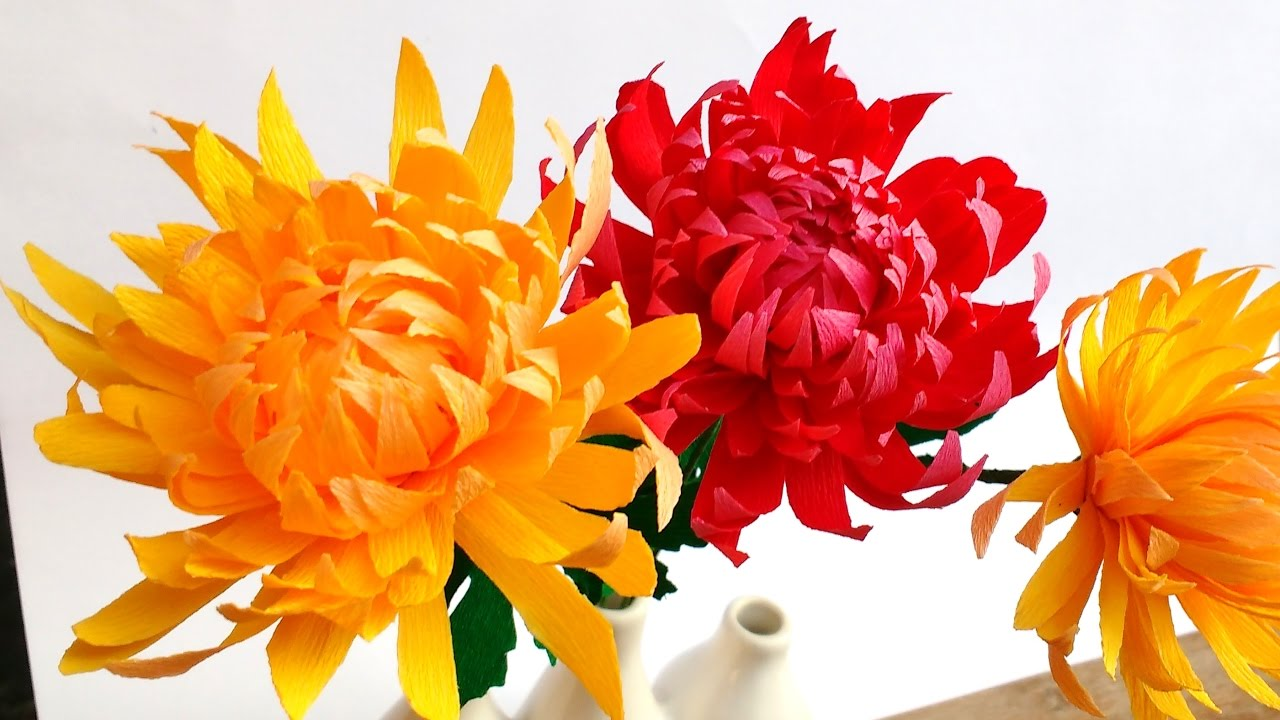 how to make easy paper flowers chrysanthemum mums