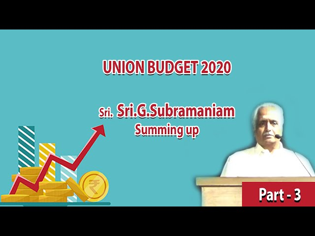 Part 3 Discussion on Union Budget 2020