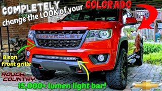 BISON GRILLE and 15,000 lumen LIGHT BAR install on my 2018 Chevy COLORADO!!