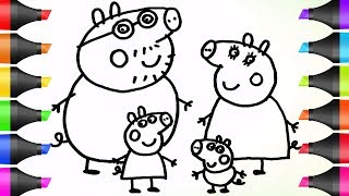 Drawing Peppa Pig's Family | Coloring Pages | BoDraw