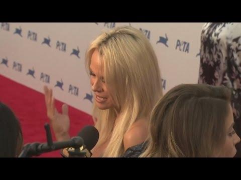 Pamela Anderson celebrates PETA's 35th birthday