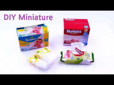 DIY Miniature Diapers and Baby Wipes Pampers and Huggies 기저귀, 물티슈 미니어쳐 만들기