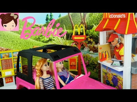 Thumbnail: Barbie Mc Donald's Drive-Thru Playset With Frozen Toddlers Toys Trolls, Maleficient