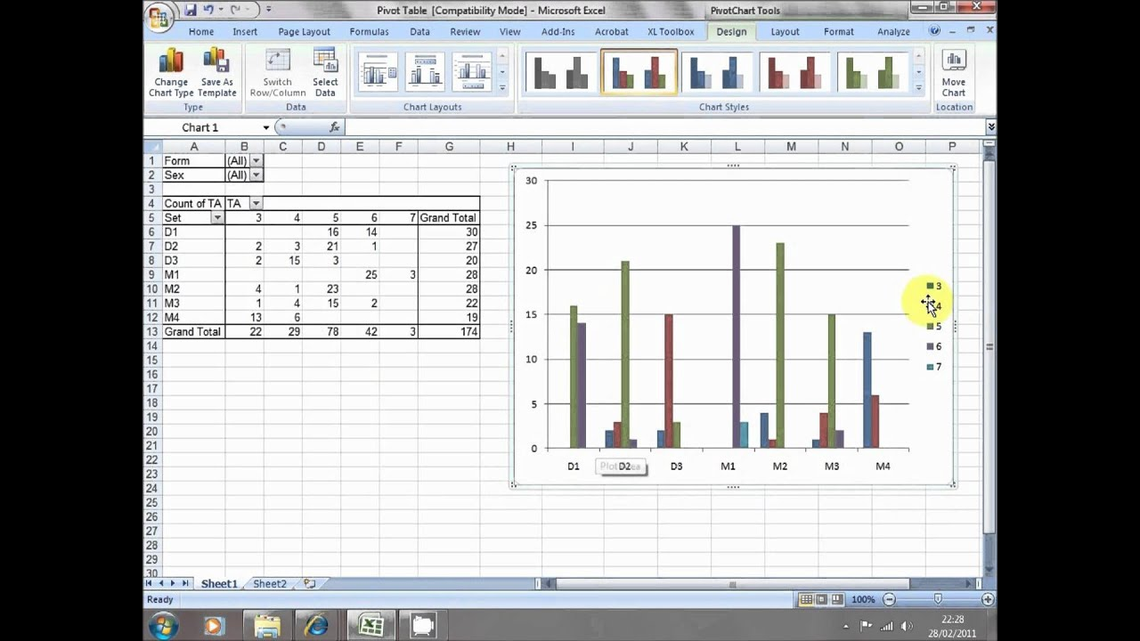 pivot tables and charts for teachers in excel 2010 youtube