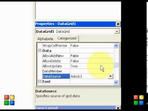 how to use adodc and datagrid control in vb6 - tutorial