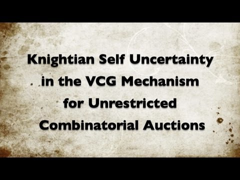 Knightian Self Uncertainty in the VCG Mechanism for Unrestricted Combinatorial Auctions