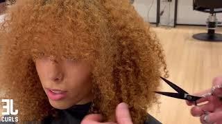 Cutting curly bangs/fringe