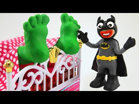 Hulk Feet Tickle by Batman & Cartoons Songs for Kids Play Doh Animation