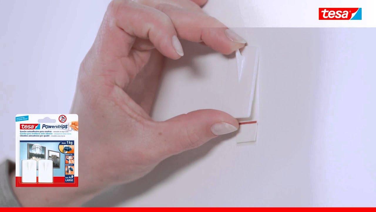 Tesa powerstrips ganchos para cuadros ideal para fijar for Gancho adhesivo pared