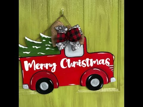 DIY Door Decor Super Easy to Paint - Christmas Truck Door Hanger