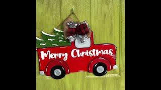 DIY Door Decor Super Easy to Paint - Christmas Truck Door Hanger
