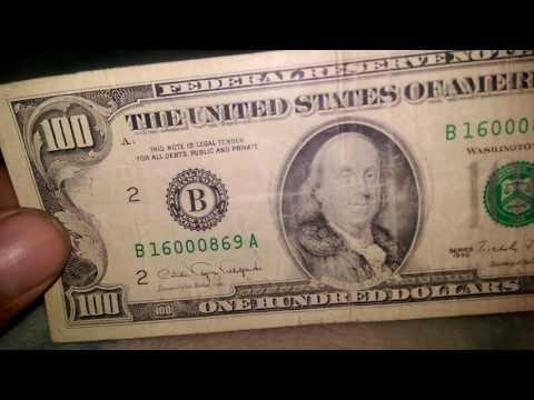 $100 federal reserve note 1990