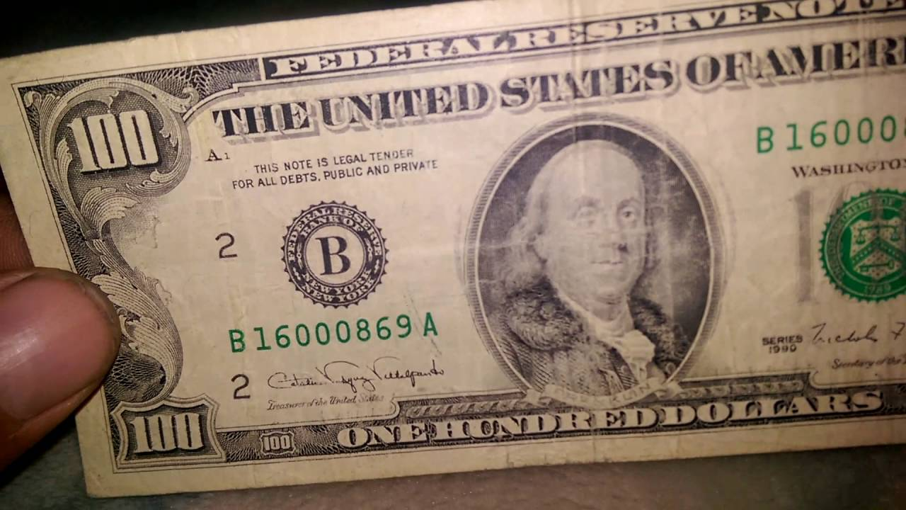 100 Federal Reserve Note 1990 Youtube