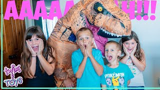 Kate and Lilly ESCAPE From Giant T-Rex Using Pretend Play Magic!