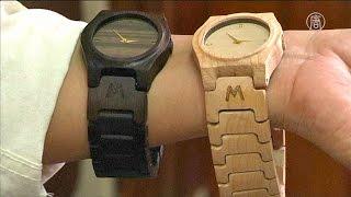 Деревянные наручные часы из отходов древесины делают в Индонезии(новости)