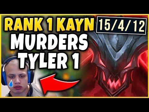 RANK 1 KAYN WORLD DESTROYS TYLER1 IN CHALLENGER (ABSOLUTE STOMP) - League of Legends thumbnail