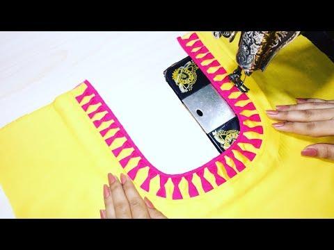 Round Churidar Neck Design cutting and stitching