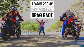 TVS Apache RTR 200 4V vs Yamaha FZ 25 Drag Race