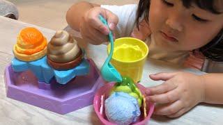 お水で色が変わるふしぎなアイス&ソフトクリームやさんでお店やさんごっこ pretend play with kids ice cream toys