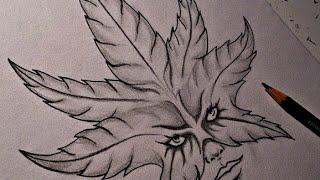 Drawing Weed Girl (Tattoo Design)