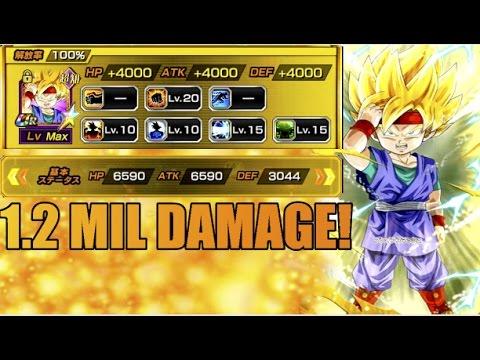 1 2 Million Damage Is Goku Jr Worth Farming Dragonball Z Dokkan Battle Jp Youtube
