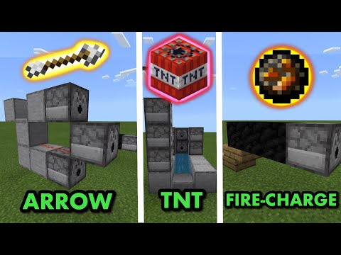 3 SIMPLE RAPID-FIRE CANNONS TUTORIAL in Minecraft Bedrock (MCPE/Xbox/PS4/Nintendo Switch/Windows10)