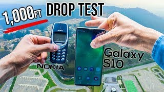 Samsung Galaxy S10 Drop Test from 1,000 Feet! - VS. Nokia 3310 | in 4K