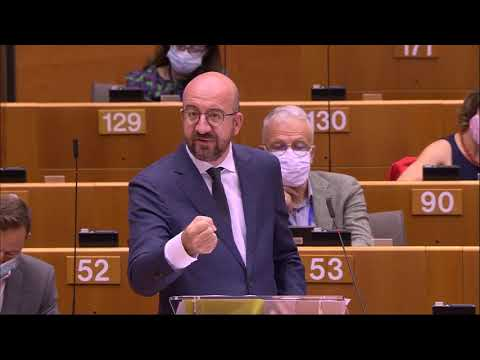 Charles Michel eudebates the EU Recovery Deal and MFF in European Parliament in Brussels