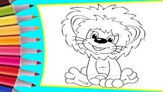 🦁 Раскрашиваем картинки для детей из мультфильмов Как львенок и черепаха песню пели