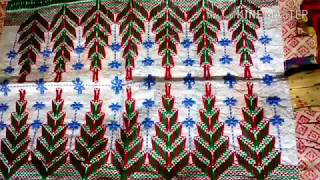 Plastic Sack stitch. Hand embroidery. Table mat stitch. Temple pattern. Supriya Talukder