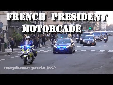 French President Emmanuel Macron Motorcade In Paris