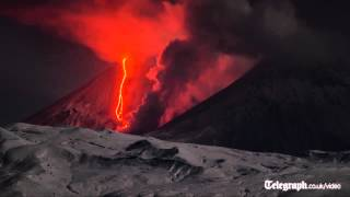 Volcano eruption filmed in timelapse
