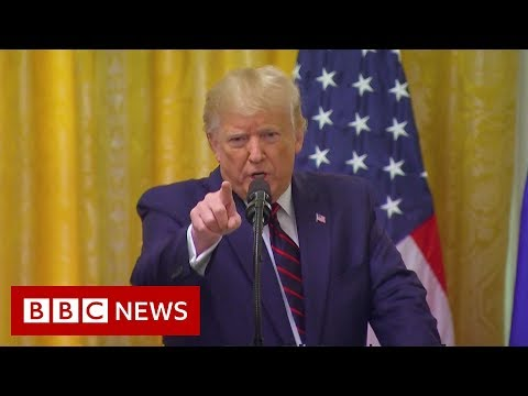 Donald Trump argues with reporter over Ukraine question - BBC News