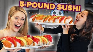 I Challenged My Friend To Eat A 5-Pound Sushi Roll In 15 Minutes • Giant Food Time