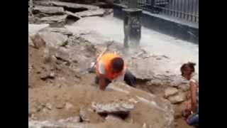 Plazuela El Recreo y los trabajos de exploración de los arqueólogos -  DRC