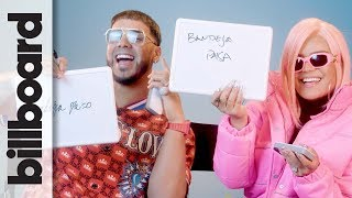 "Karol G & Anuel AA play ""How Well Do You Know Each Other?"" during Billboard Latin Music Week 2019. #AnuelAA #KarolG #Billboard #LatinMusicWeek ..."