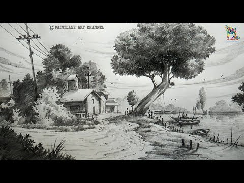How To Draw A Landscape Drawing And Shading For Beginners   Step By Step