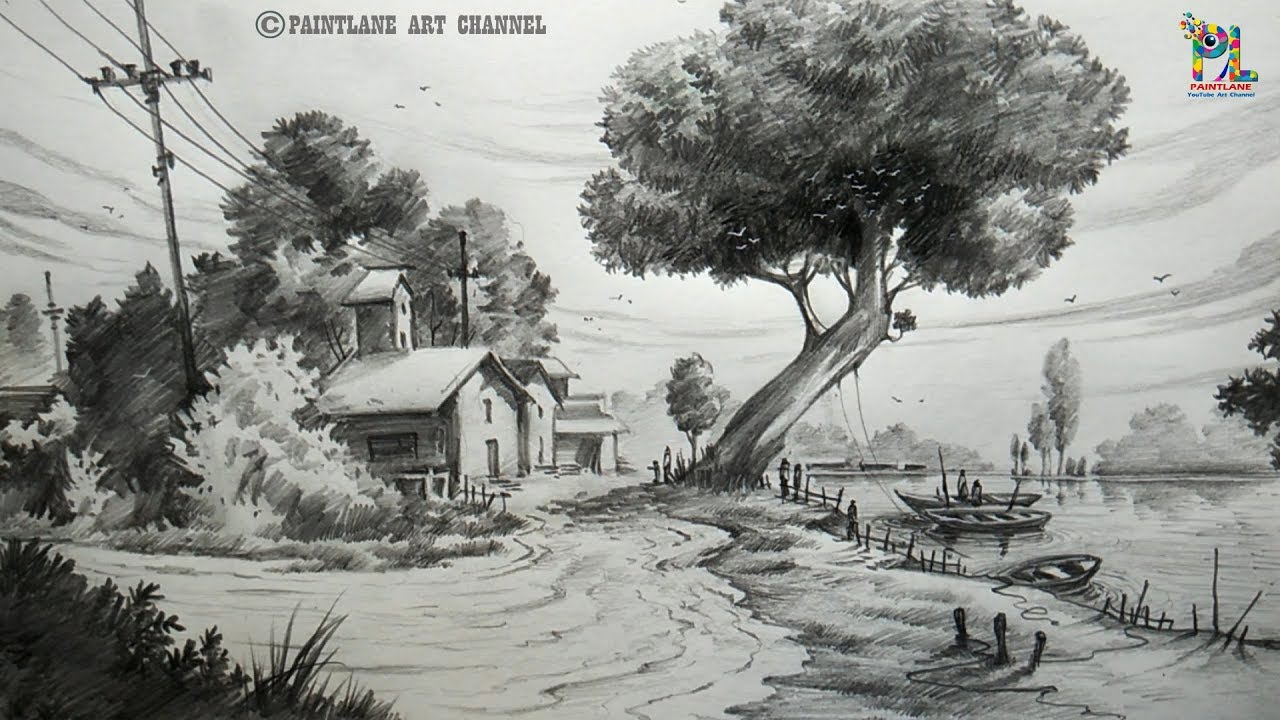 How to draw a Landscape Drawing and Shading For Beginners ...